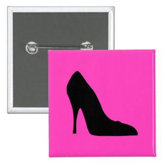 Bombas negras y rosadas pin cuadrada 5 cm