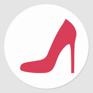 Bombas rojas del zapato pegatina redonda