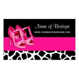 Bombas rosadas femeninas del estampado de girafa tarjetas de visita