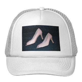 Bombas/zapatos rosados del tacón alto gorros bordados