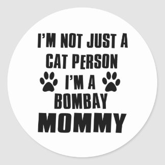 Bombay Cat Design Classic Round Sticker