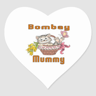 Bombay Cat Mom Heart Sticker