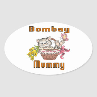Bombay Cat Mom Oval Sticker