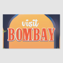 Bombay Vintage Travel Print. Rectangular Sticker