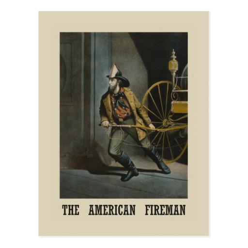 Bombero americano tarjeta postal