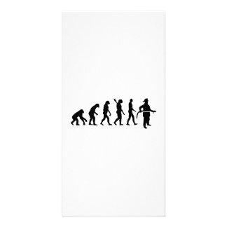 Bombero de la evolución tarjeta con foto personalizada