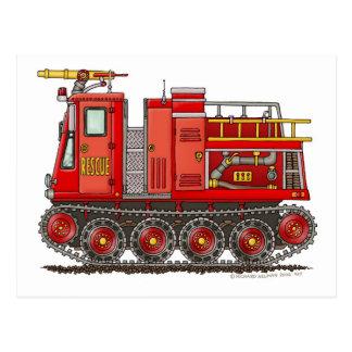 Bombero del coche de bomberos de la autobomba del postales