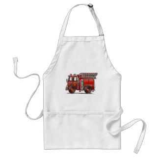 Bombero del coche de bomberos de la escalera delantal