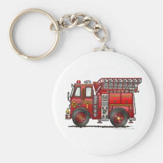 Bombero del coche de bomberos de la escalera llavero redondo tipo pin