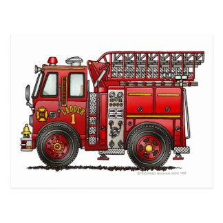 Bombero del coche de bomberos de la escalera tarjeta postal