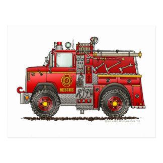 Bombero del coche de bomberos del rescate de la tarjetas postales