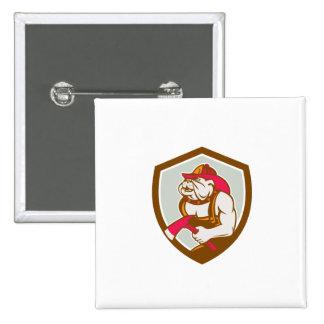 Bombero del dogo con el escudo del hacha retro pin