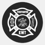 Bombero EMT Etiquetas Redondas