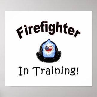 Bombero en el entrenamiento póster