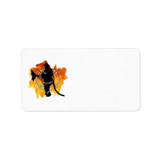 Bombero en llamas etiqueta de dirección