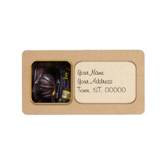 Bombero - llevado y usado etiqueta de dirección