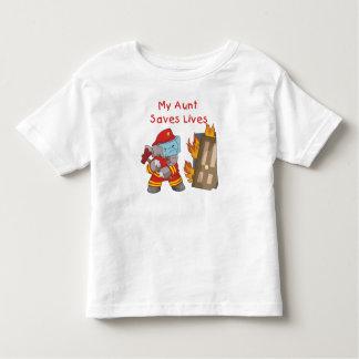 Bombero mi tía Saves Lives Tshirts y regalos Playera De Bebé