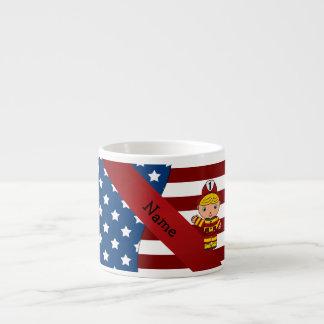 Bombero patriótico conocido personalizado taza espresso