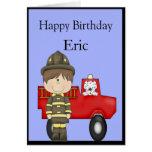 Bombero, poco coche de bomberos rojo, Dalmatian Tarjeta De Felicitación