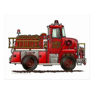 Bombero voluntario del coche de bomberos tarjetas postales
