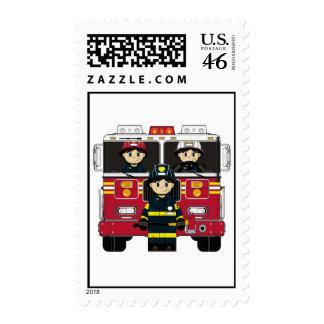 Bomberos con el sello del coche de bomberos