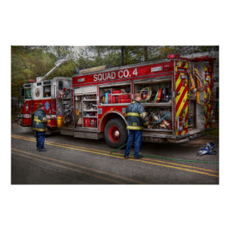 Bomberos - el coche de bomberos moderno impresiones