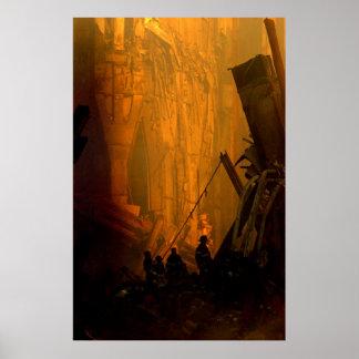 Bomberos en los escombros de las torres gemelas en póster