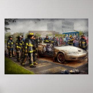 Bomberos - la demostración del fuego impresiones
