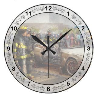 Bomberos - la demostración del fuego reloj redondo grande