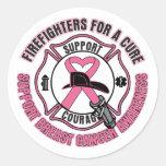 Bomberos para un cáncer de pecho de la curación pegatina