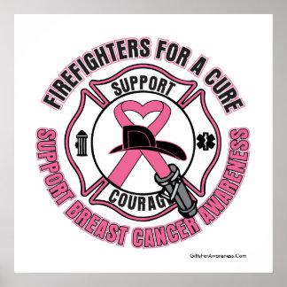 Bomberos para un poster del cáncer de pecho de la