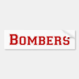 Bombers square logo in red bumper stickers