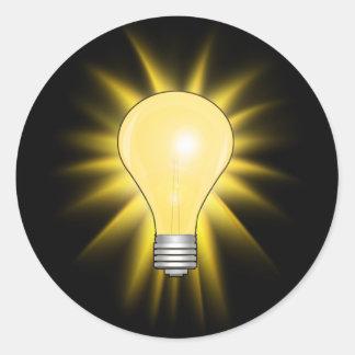 Bombilla - amortigüe las luces pegatina redonda