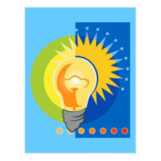 Bombilla de la idea brillante eléctrica postales