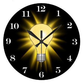 Bombilla de la idea brillante (números reloj redondo grande