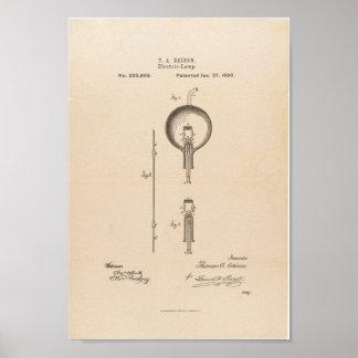 Bombilla de la patente de Edison Impresiones