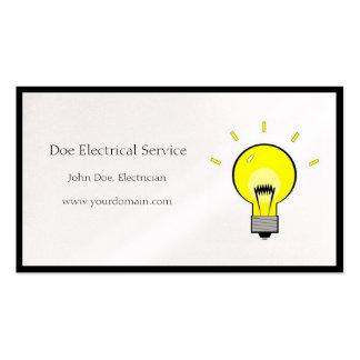 Bombilla del contratista eléctrico del tarjetas de visita