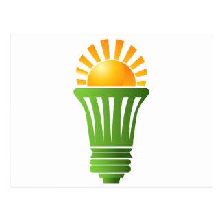 Bombilla eficiente de energía solar postal