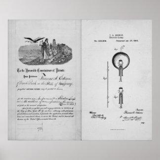 Bombilla incandescente por la patente de Thomas Ed Posters