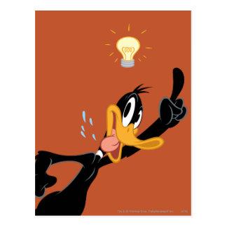 Bombilla sobre la cabeza del pato de Daffy Postal