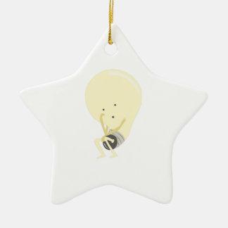 Bombilla tonta adorno de cerámica en forma de estrella