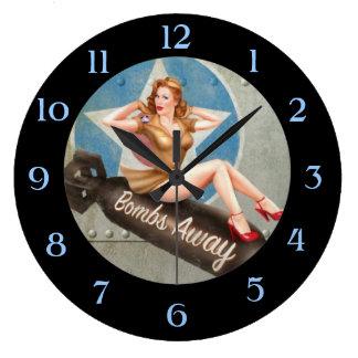 BOMBS AWAY Vintage Pin Up Clock