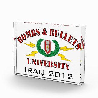 Bombs & Bullets University Acrylic Award