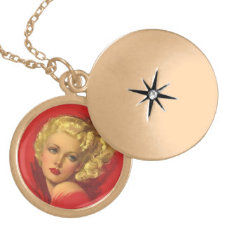 BOMBSHELL BAD GIRLS Retro Pin-Ups Gold Plated Necklace