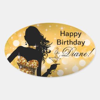 Bombshell Bling Glitter Party Dress oval | gold Oval Sticker
