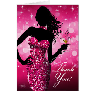 Bombshell Bling Glitter Thank You | fuchsia Greeting Card