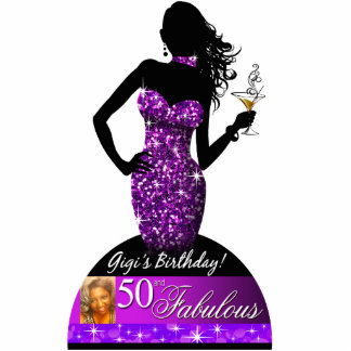Bombshell Bling Photo Cake Topper 5x7 | purple Statuette