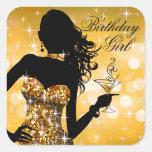 Bombshell Glitter Party Dress | gold Square Sticker