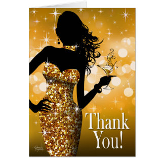 Bombshell Glitter Thank You | gold Card