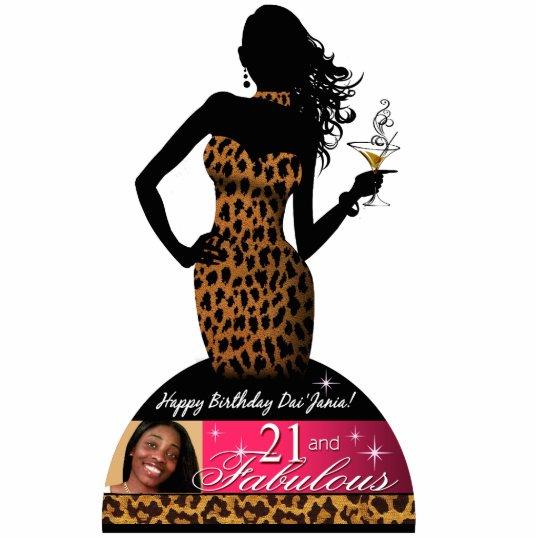 Bombshell Leopard 21st Birthday Table Centerpiece Cutout